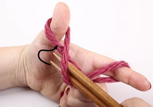 4. Введите спицы с нитью в петлю на большом пальце снизу.